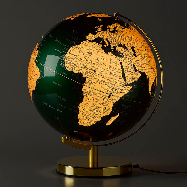 12 Inch Fir Green and Metallic Brass Globe Light from Wild and Wolf