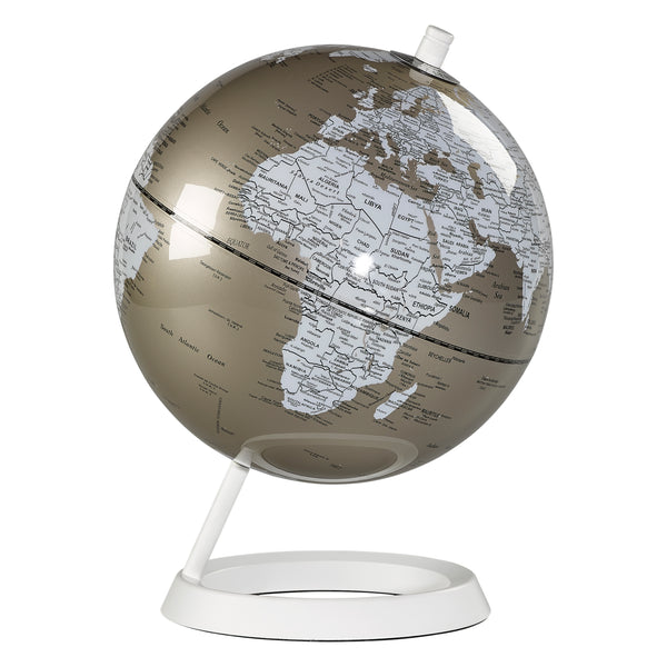 Wild Wood 8 Inch Metallic Pewter Globe