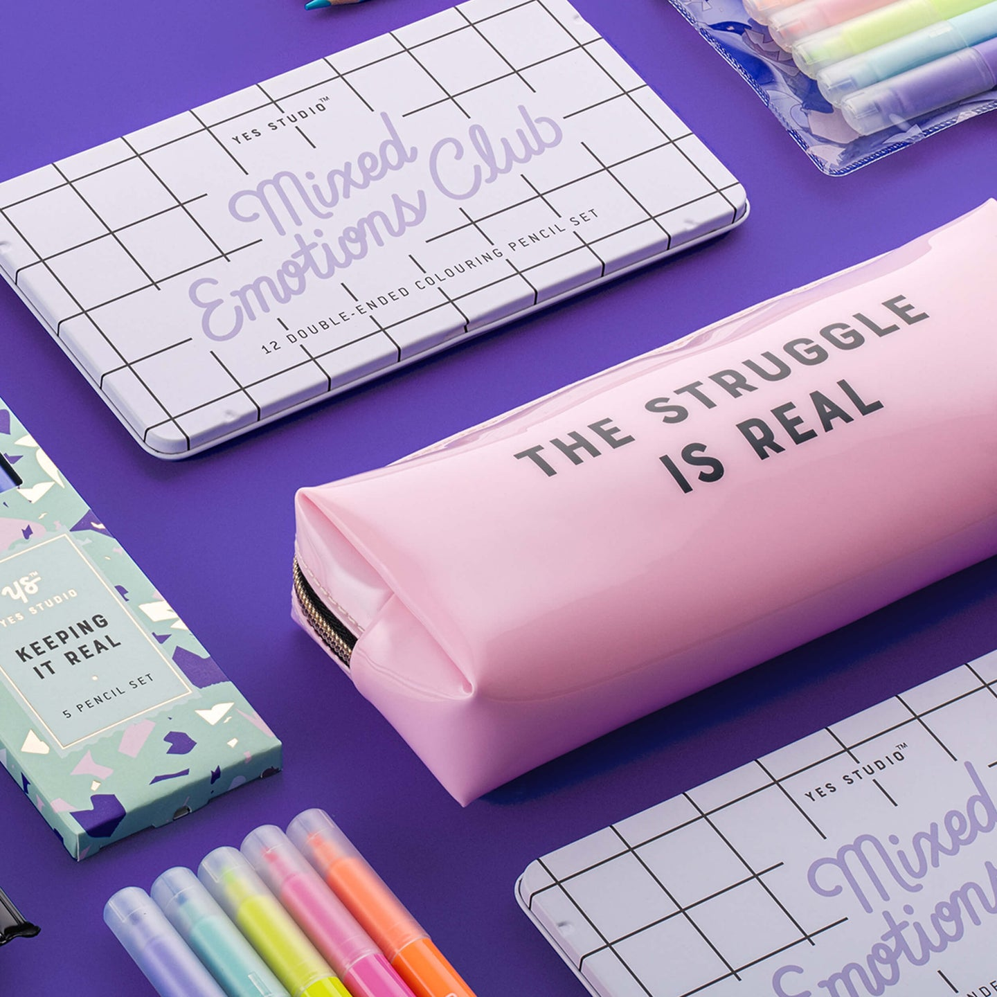 Yes Studio Box Pencil Case, 'The Struggle Is Real'