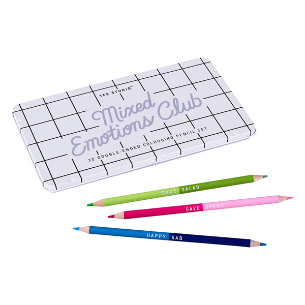 Yes Studio Mixed Emotions Club Two-Tone Colouring Pencil Set in Branded Tin