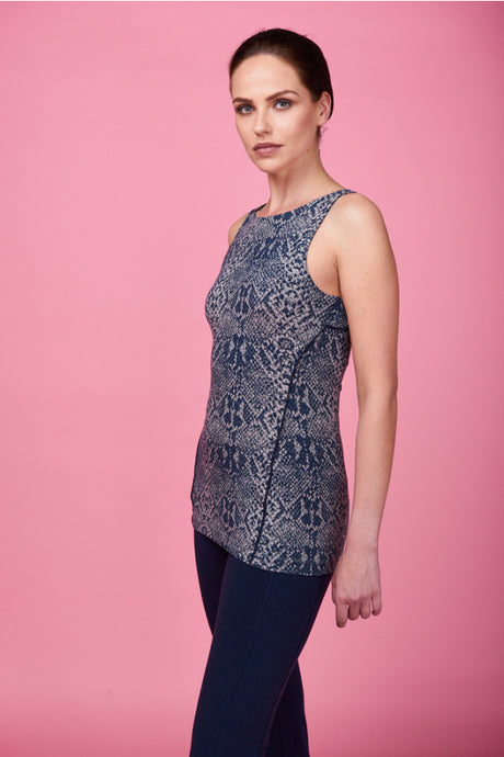 Asquith Good Vibes Yoga Top made from Bamboo in Snake