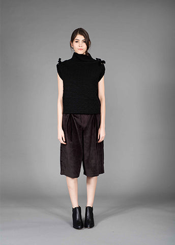 pleated japan velveteen crop pants
