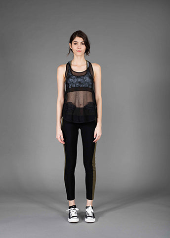 mesh racer back tank top with bauhinia guipure
