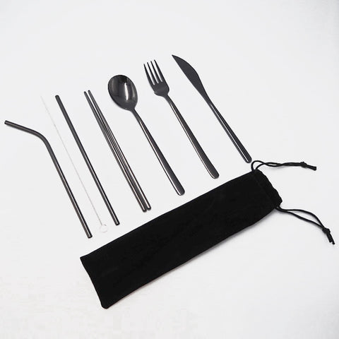 6-pieces high-quality black stainless-steel cutlery set