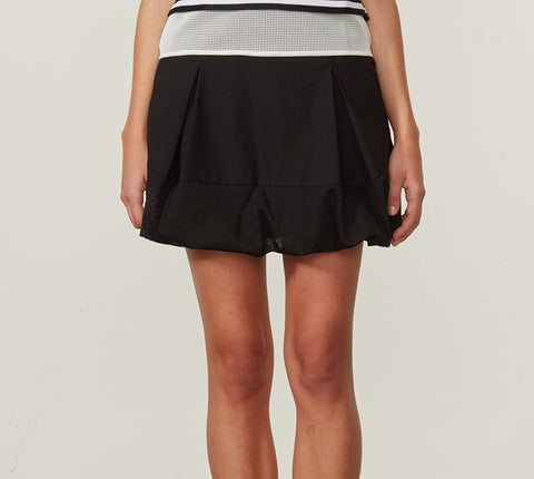 bubble skirt with inner mesh details