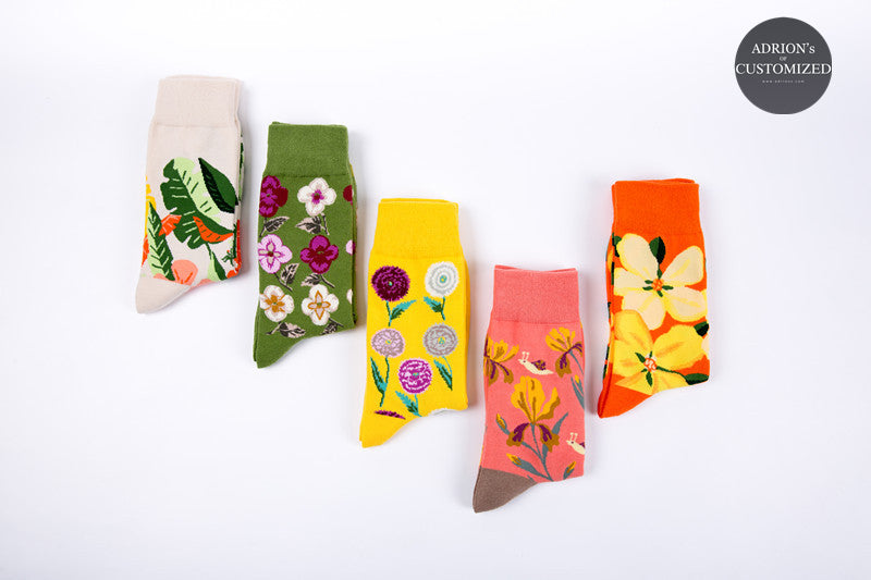 <5 Pairs Gift Box>Mixed Flower Design Socks - socksADRION's