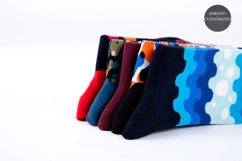 <5 Pairs Gift Box>Mixed Wave Design Socks - socksADRION's
