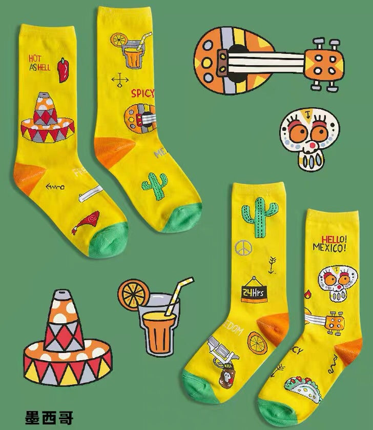 Hello Mexico Mixed Funny Socks - socksADRION's