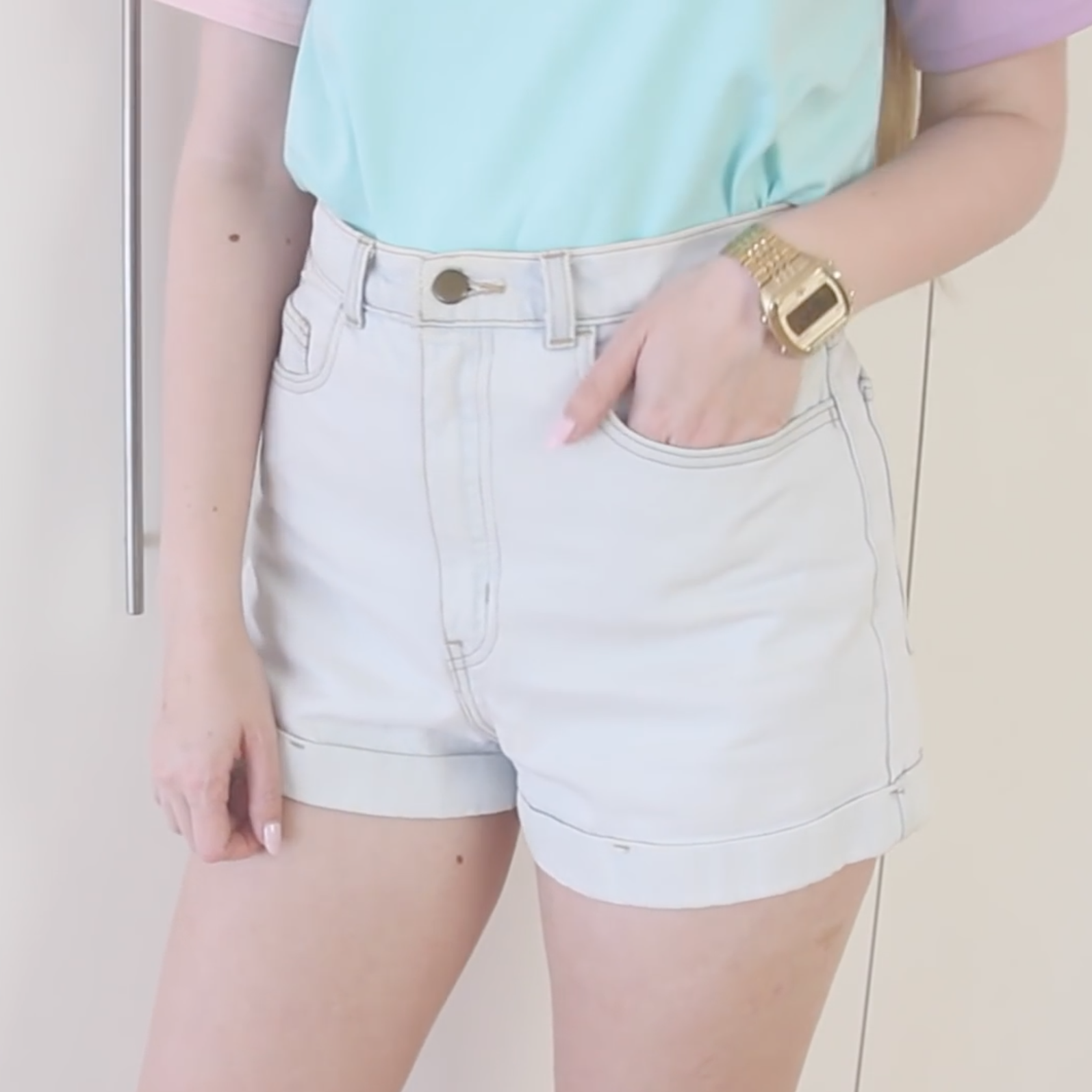 American Apparel High Waist Cuff Denim Shorts
