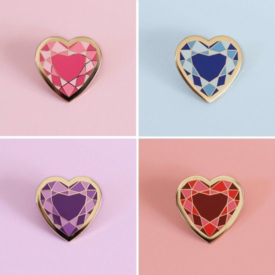 Crystal Heart Pin