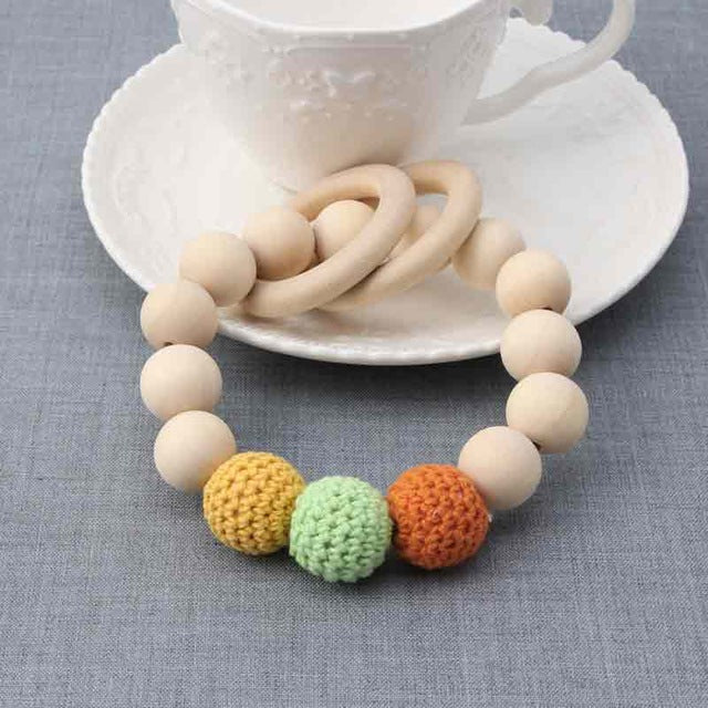 Natural Round Wood Baby Teething Bracelet
