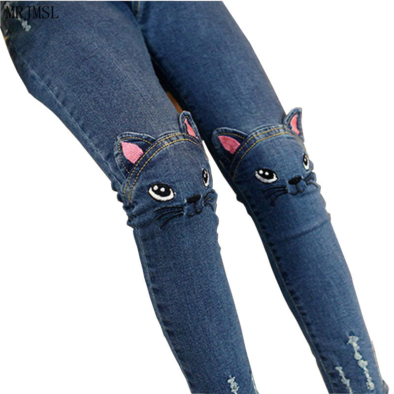 Girls Fashion Cartoon Cat Denim Jean