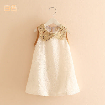 Summer Fashion Lace Sleeveless Girls Party Dress