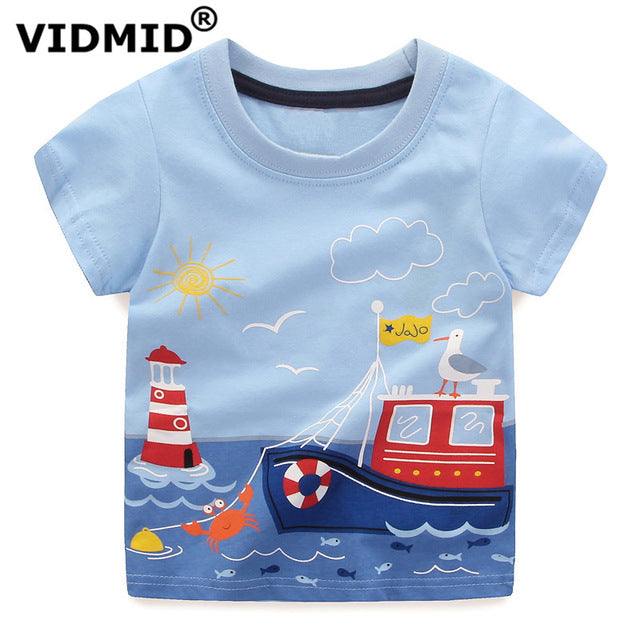 Boys Summer Cotton Short Sleeve Printed Causal Tees