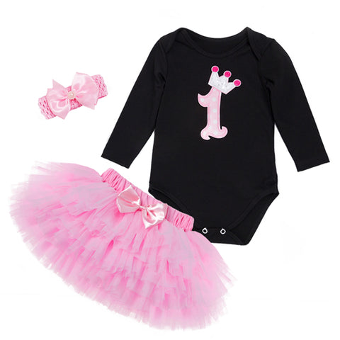 Baby Girl Black Jumpsuits Pettiskirt Set