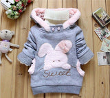 Girls Winter Thick Cotton Tops Cute Cartoon Rabbit Hoodie