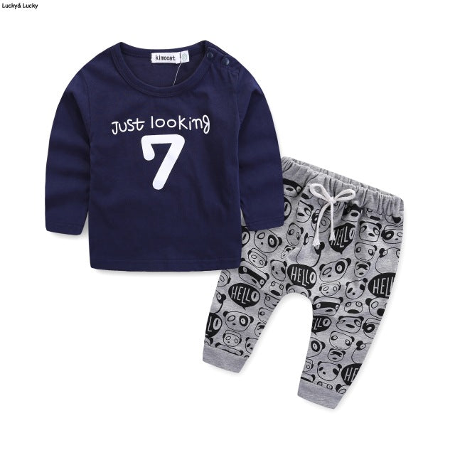 Newborn Baby Boys Long Sleeve Printed Clothing Set