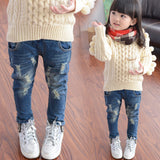 Girls Spring and Autumn Hole Distrressed Denim Jeans