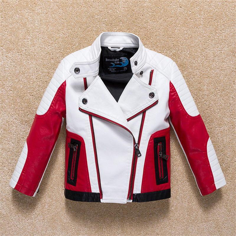 Infant Boys Autumn Fashion Hit Color Stitching Children Leather Jacket