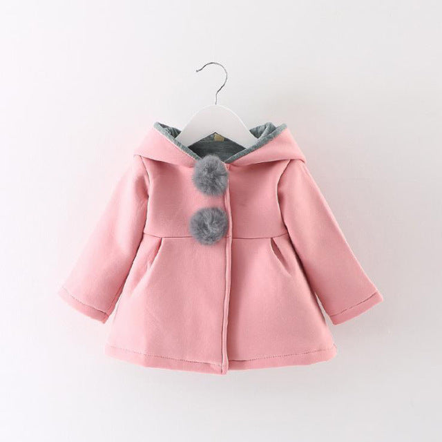 Baby Girls Autumn Spring Rabbit Long Ear Hoodies Cotton Jacket