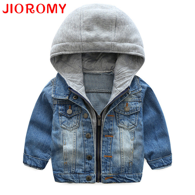 Boys Spring Autumn Wash Soft Denim Hooded Zipper Coat