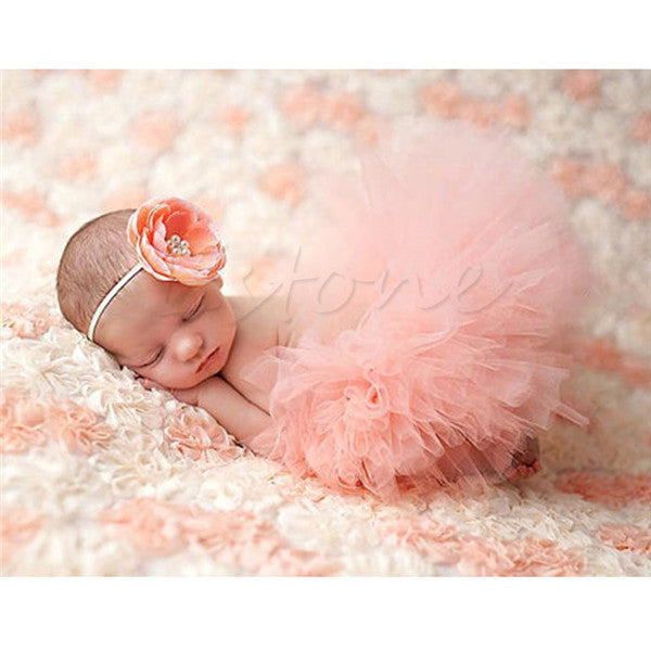 Cute Baby Girls Tutu Skirt & Headband