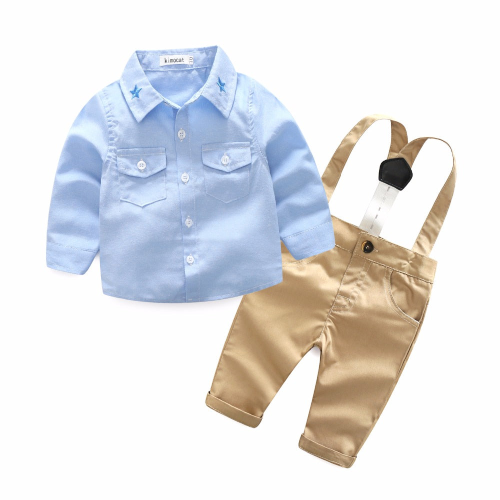 Baby Boy Casual Suit 2pcs Cotton Long Sleeve Plaid Button-Down Shirt Pant
