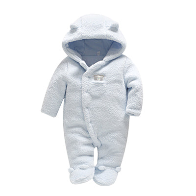 Baby Boys Winter Plush Hooded Jumpsuit