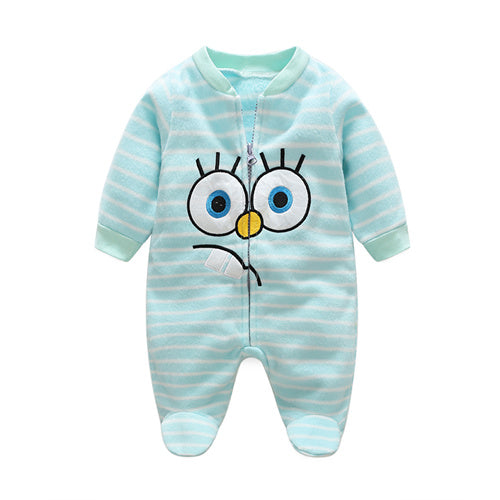 0-12M Baby Boys Winter Warm Fleece Monkey Rompers