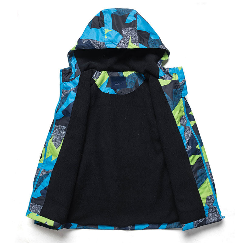 Boys Geometric Printed Polar Fleece Spring Jacket