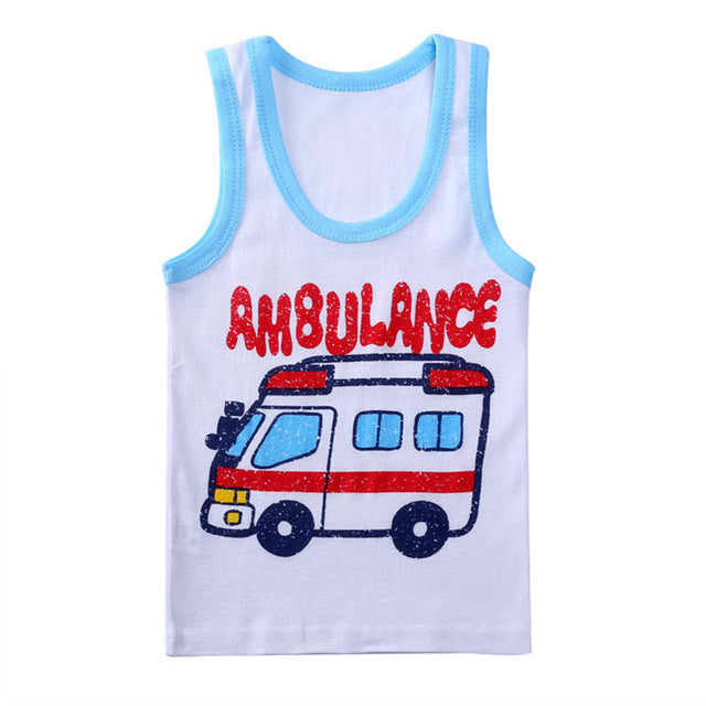 Boys Summer Cartoon Printed Sleeveless Vests