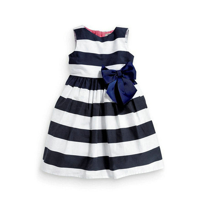 Girls Sleeveless One Piece Blue Striped Bowknot Tutu Dress