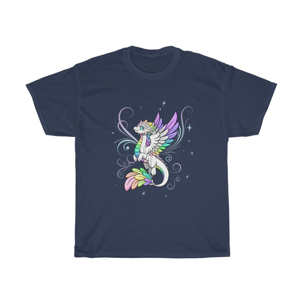 Unisex White Rainbow Dragon T-Shirt (US ONLY)