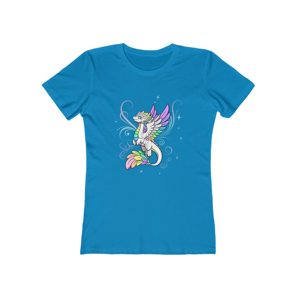 Women's White Rainbow Dragon T-Shirt (US ONLY)