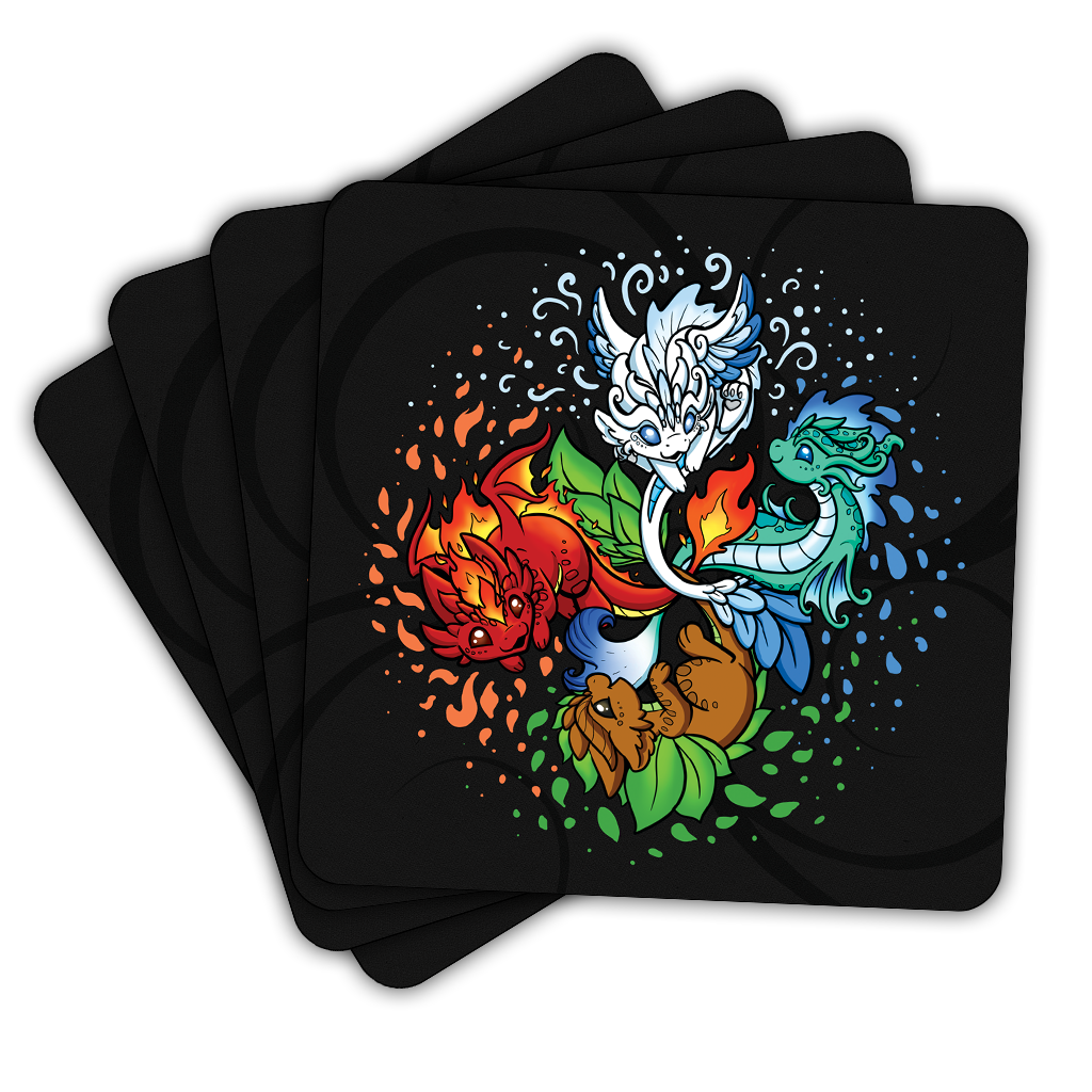 Elemental Dragon Coasters (4 Pack) - US ONLY