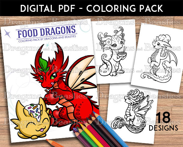 Food Dragons Coloring Pack (Downloadable)