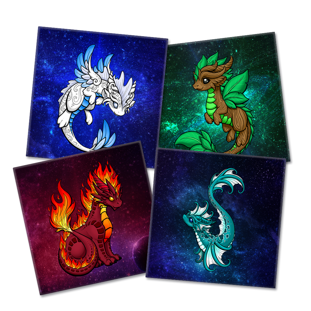 Elemental Dragon Magnet 4-Pack