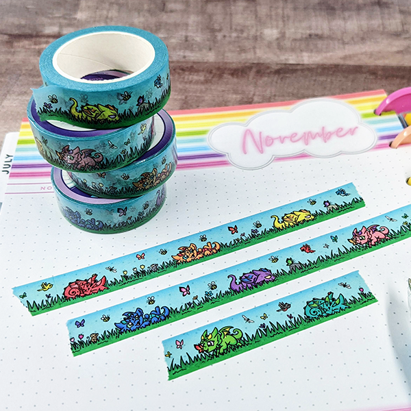 Dragons in the Grass Washi Tape