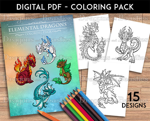 Elemental Dragons Coloring Pack (Downloadable)