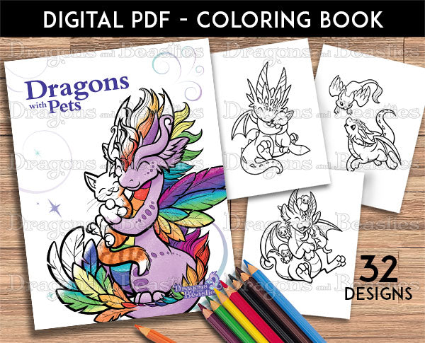 Dragons with Pets Coloring Pack (Downloadable)