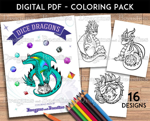 Dice Dragons Coloring Pack