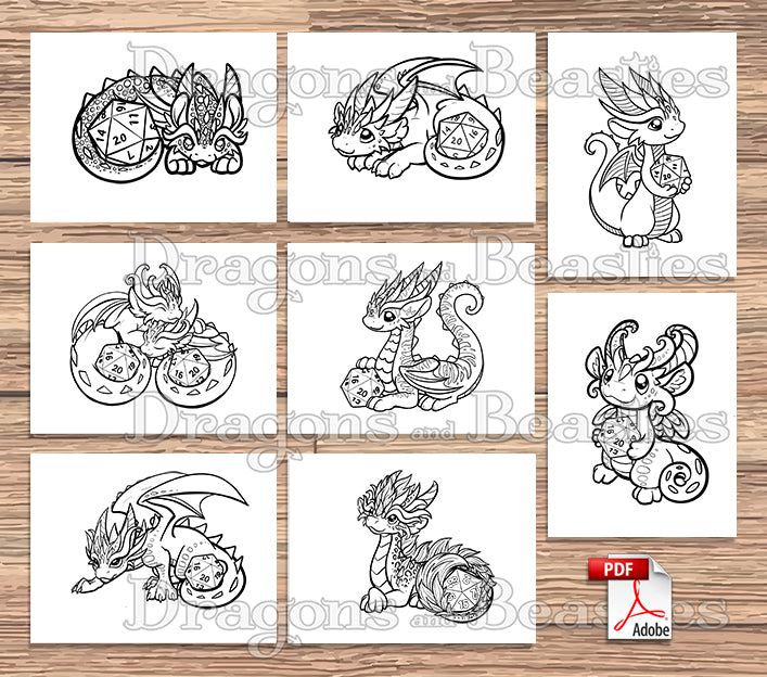 Dice Dragons Coloring Pack (Downloadable)