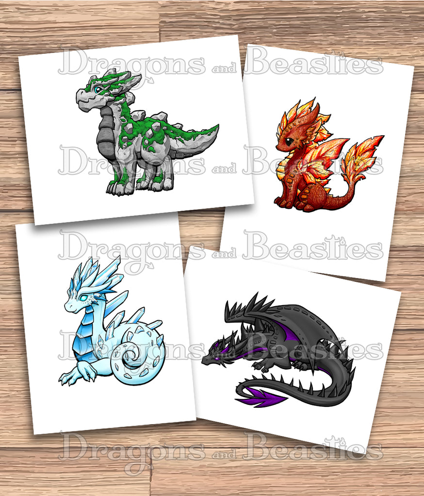 Elemental Dragons Coloring Pack