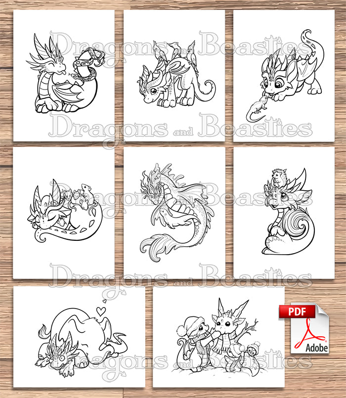 Dragons with Pets Coloring Pack