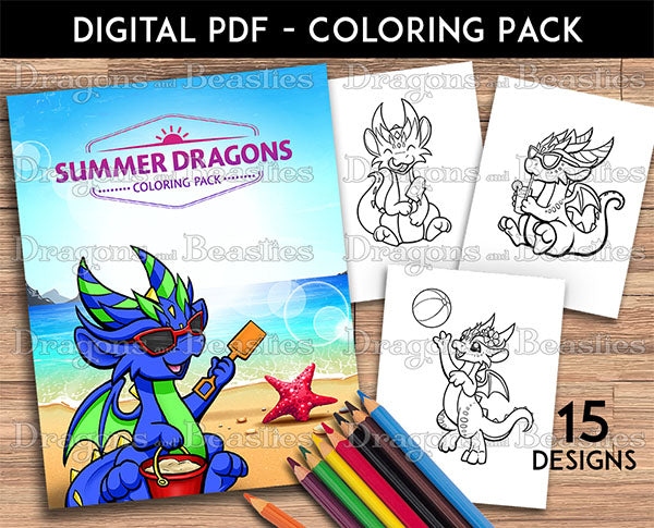 Summer Dragons Coloring Pack