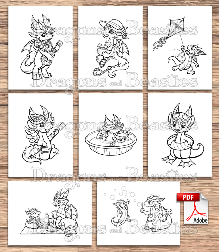Summer Dragons Coloring Pack (Downloadable)