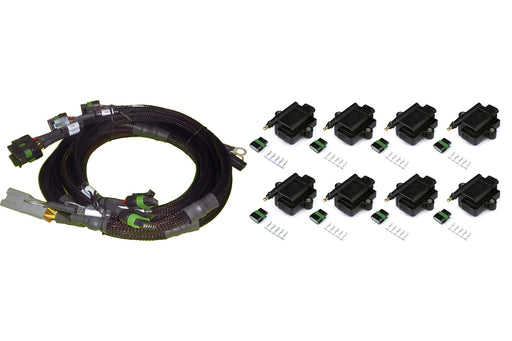 Haltech HT-130312 V8 GM/Chrysler Hemi Small/Big Block 8 x Individual High Output IGN-1A Inductive Coil and Harness Kit