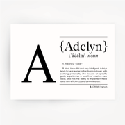 Name Definition Art Print ADELYN Black