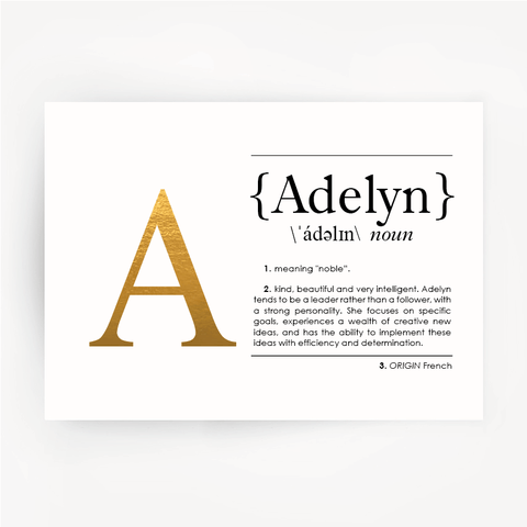 Name Definition Art Print ADELYN Gold