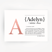 Name Definition Art Print ADELYN Rose Gold